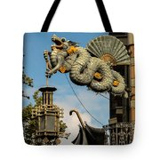 Dragon And Umbrella Sing In Barcelona Tote Bag