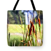 Dragon Fly And Cattails In Watercolor Tote Bag