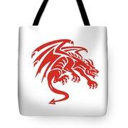 Dragon Gargoyle Crouching Silhouette Retro Tote Bag