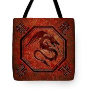 Dragon In An Octagon Frame With Chinese Dragon Characters Red Tint  Tote Bag