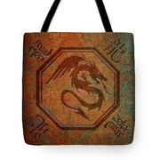 Dragon In An Octagon Frame With Chinese Dragon Characters Yellow Blue Tint  Tote Bag
