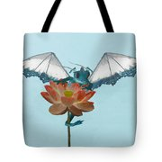 Dragon Peeks Around Flower Tote Bag