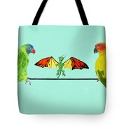Dragon With Birds Tote Bag