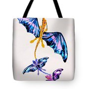 Dragon With Two Kids Tote Bag