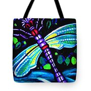 Dragonfly And Water Lily Tote Bag
