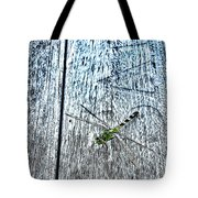 Dragonfly On A Bench Tote Bag