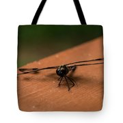 Dragonfly On A Porch Railing Tote Bag