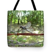 Dragonfly On Barbed Wire Tote Bag