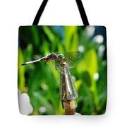 Dragonfly On Flag Post Tote Bag