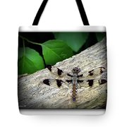 Dragonfly On Log Tote Bag