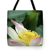 Dragonfly On Lotus Tote Bag