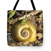 Dragonfly On Snail Tote Bag