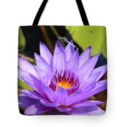 Dragonfly On Water Lily Tote Bag