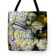 Dragonfly On White Mums Tote Bag
