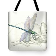 Dragonfly With Chameleon Tote Bag