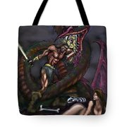 Dragonslayer N Damsel Tote Bag