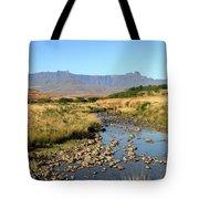 Drakensberg Amphitheatre Mountain Range In Kwazulu Natal, South Africa Tote Bag