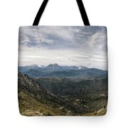 Dramatic Panoramic View Of Snow Capped Mountains Of Northern Cor Tote Bag