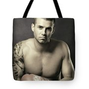 Dramatic Portrait Of A Kickboxer Tote Bag