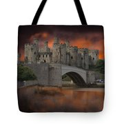 Dramatic Sky Over Castell Conwy Tote Bag