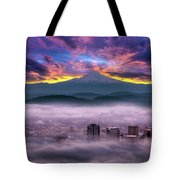Dramatic Sunrise Over Foggy Downtown Portland Tote Bag