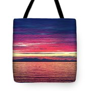 Dramatic Sunset Colors Over Birch Bay Tote Bag