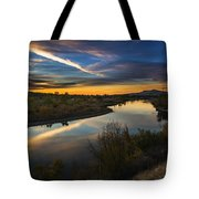 Dramatic Sunset Over Boise River Boise Idaho Tote Bag