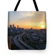 Dramatic Sunset Over Kuala Lumpur City Skyline Tote Bag