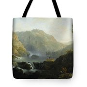 Draughtsmen In Front Of A Waterfall Tote Bag