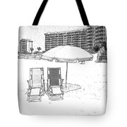 Drawing The Beach Chairs Tote Bag