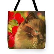 Dreamy Cat With Geranium 2015 Tote Bag