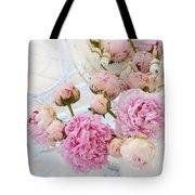 Dreamy Shabby Chic Romantic Peonies - Garden Peonies White Mason Jars Tote Bag