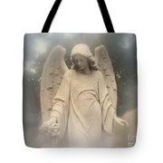Dreamy Surreal Angel Art Fog Cemetery Tote Bag