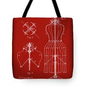 Dress Form Patent 1891 Red Tote Bag
