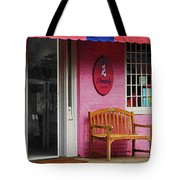 Dress Shop With Orange And Blue Awning Tote Bag