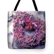 Dried Flower Heart Wreath Tote Bag