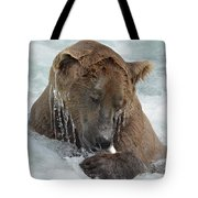Dripping Grizzly Bear Tote Bag