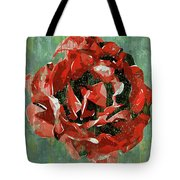 Dripping Poster Rose On Green Tote Bag