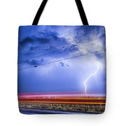 Drive By Lightning Strike Tote Bag