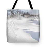 Driving In Drifting Snow Tote Bag