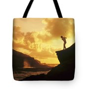 Driving Off A Cliff Tote Bag