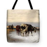 Driving The Herd Home In Wintry Landscape Tote Bag