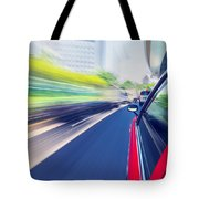 Driving Through The City By Taxi Tote Bag