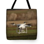 Drone Fly Above The Field Tote Bag