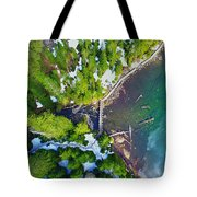 Drone Shot Of Lake 22 Bridge Tote Bag