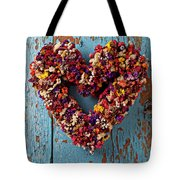 Dry Flower Wreath On Blue Door Tote Bag