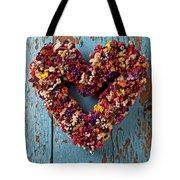 Dry Flower Wreath On Blue Door Tote Bag by Garry Gay