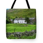 Dry Stone Wall And White Cottage - P4a16022 Tote Bag