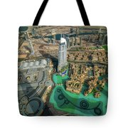 Dubai Downtown Aerial View By Sunset, Dubai, United Arab Emirates Tote Bag