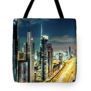 Dubai Downtown Architecture And A Highway.  Tote Bag